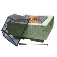 Cubo Square Garden Fire Pit with Grill Light Green