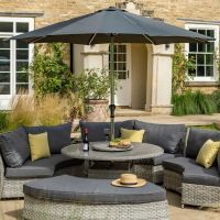 3m Grey Slate Parasol with Silver Pole