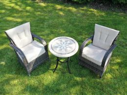 2 Cairo Chairs with Back Cushions and Dalkey Table