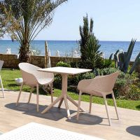 2 Air XL Chairs with Sky 60x60 Square Table in Taupe