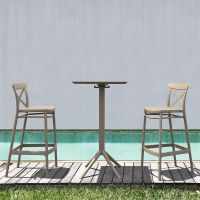 2 Cross Bar Chairs and Sky Bar Table Set in Taupe