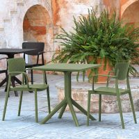 2 Loft Chairs with Sky 60x60 Square Table in Olive Green