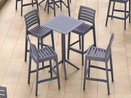 4 Ares Bar Stools and Sky Bar 60 Folding Table Set in Grey