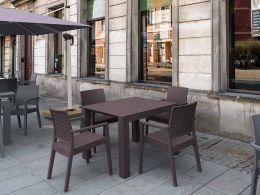 4 Ibiza Chairs and Vegas Table Dining Set in Brown
