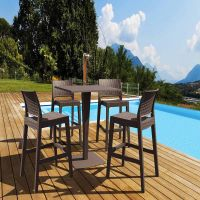 4 Jamaica Bar Chairs and Riva Bar Table Set in Brown