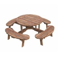 The Kilkenny Round Heavy Duty Picnic Table Set in Brown