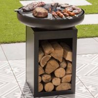 BBGrill Matanzas Firepit Plancha with Wood Storage