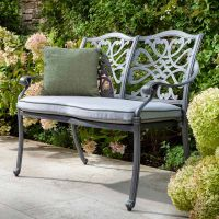 Capri Antique Grey 2 Seat Bench with Cushion