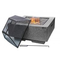 Cubo Square Garden Fire Pit with Grill Dark Grey