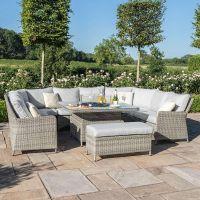 Hamilton U Shaped Sofa Set with Rising Table and Firepit-Complete