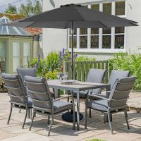 Milano 6 Highback Armchairs Seat Rectangular Set with Parasol and Base