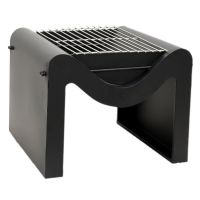 Outdoor Metal Hexham Firepit with Grill in Black (H40.5cm x W58cm)