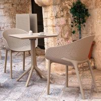 Sky Folding Table Bistro Set in Taupe